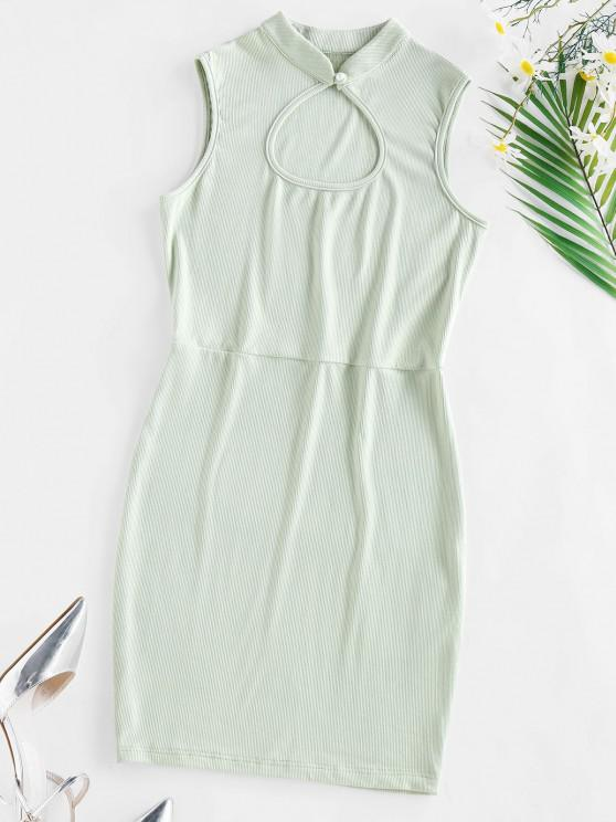 ZAFUL Ribbed Keyhole Bodycon Dress - اخضر فاتح L