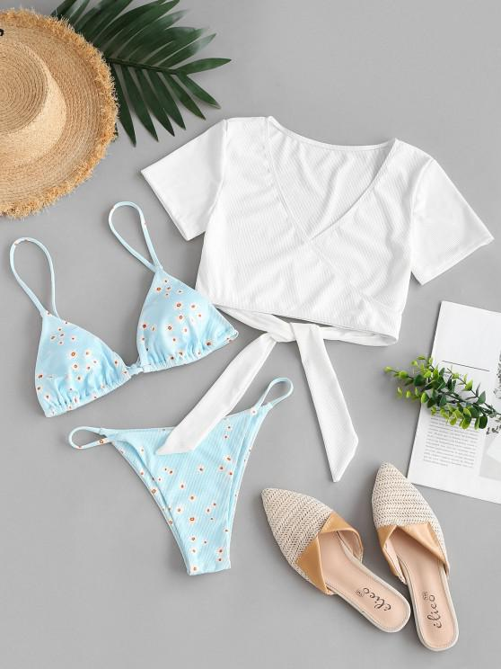 lady ZAFUL Ribbed Floral Wrap Three Piece Swimsuit - LIGHT BLUE S