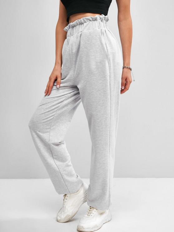 best ZAFUL High Waist Paperbag Sweatpants - LIGHT GRAY M