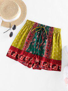 ZAFUL Paisley Printed Drawstring Shorts - Deep Green S