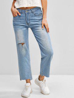 Ripped Frayed Hem Straight Jeans - Blue M