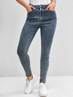 Plain High Waisted Skinny Jeans - Blue S