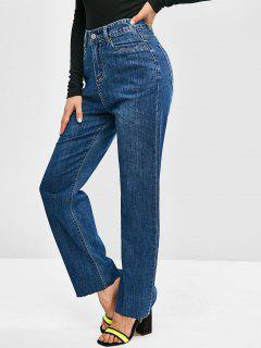 High Waisted Frayed Hem Wide Leg Jeans - Deep Blue L