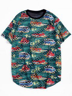 Car Palm Tree Print Sheer Patch Hole Crew Neck T Shirt - Green S