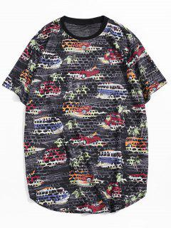 Car Palm Tree Print Sheer Patch Hole Crew Neck T Shirt - Black Xl
