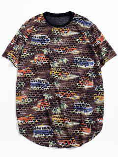 Car Palm Tree Print Sheer Patch Hole Crew Neck T Shirt - Brown M