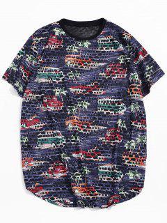 Car Palm Tree Print Sheer Patch Hole Crew Neck T Shirt - Cadetblue Xl