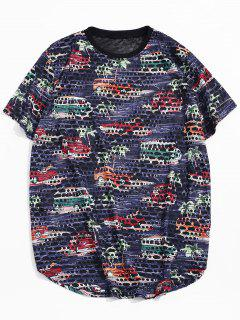 Car Palm Tree Print Sheer Patch Hole Crew Neck T Shirt - Cadetblue 2xl