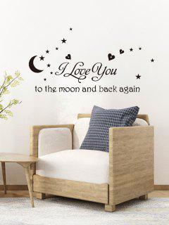 Letters Moon Star Wall Art Sticker - Black 25x70cm