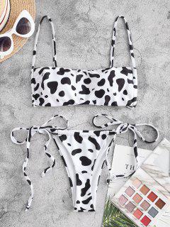 ZAFUL Cow Print Padded String Bikini Swimwear - White L