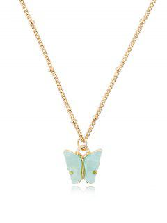 Acrylic Butterfly Pendant Chain Necklace - Coral Blue