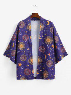 Sun Moon Star Print Kimono Cardigan - Purple Xl