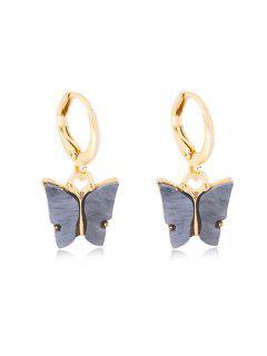 Pendientes Pequeñas Aro Diseño Mariposa - Gris Carbón