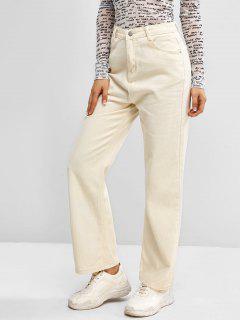 Jeans Básicos De Tiro Alto Con Cremallera - Blanco S