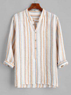 Stripes Half Button Kurta Shirt - White L