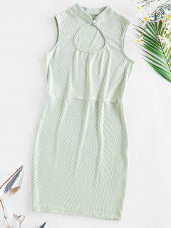ZAFUL Ribbed Keyhole Bodycon Dress - Light Green S