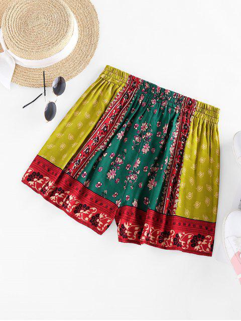trendy ZAFUL Paisley Printed Drawstring Shorts - DEEP GREEN S Mobile