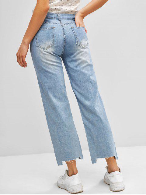 trendy Ripped Frayed Hem Straight Jeans - BLUE L Mobile