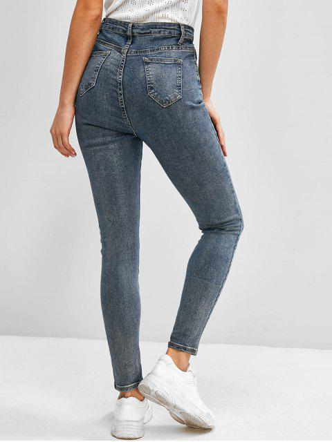 Jeans Flacos de Cintura Alta - Azul M Mobile
