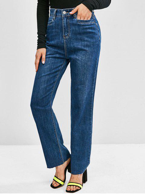 Jeans de Pierna Ancha Deshilachada con Cintura Alta - Azul Profundo S Mobile