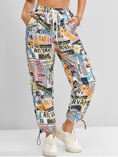 womens Windbreaker Pop Art Print Jogger Pants - WHITE L Mobile