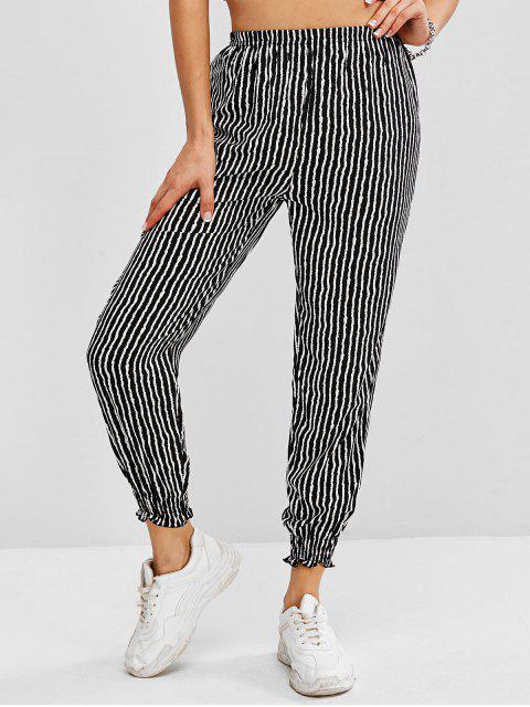 women Striped Pull On Jogger Pants - BLACK L Mobile