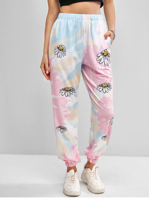 women Tie Dye Daisy Print Jogger Sweatpants - LIGHT BLUE S Mobile