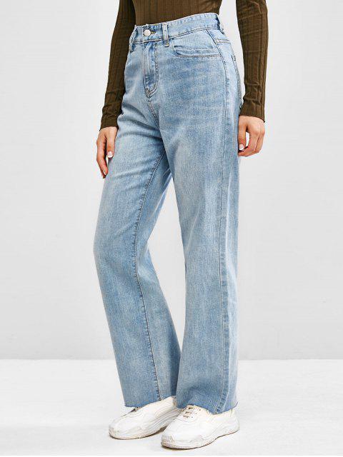 Jeans de Pierna Ancha Deshilachada con Cintura Alta - Azul claro XL Mobile