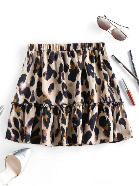 unique ZAFUL Leopard Animal Print Frilled Mini Skirt - MULTI-A XL Mobile