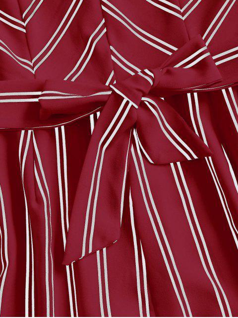 shops Belted Stripes Cami Romper - DEEP RED M Mobile
