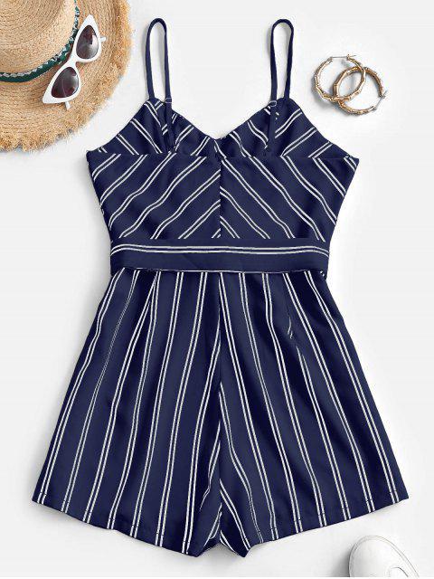 chic Belted Stripes Cami Romper - DEEP BLUE M Mobile