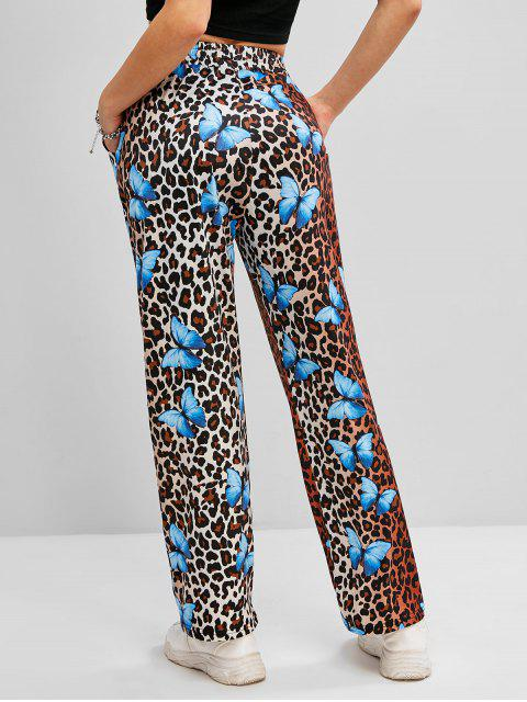 women Leopard Butterfly Print High Waisted Straight Pants - DEEP COFFEE S Mobile