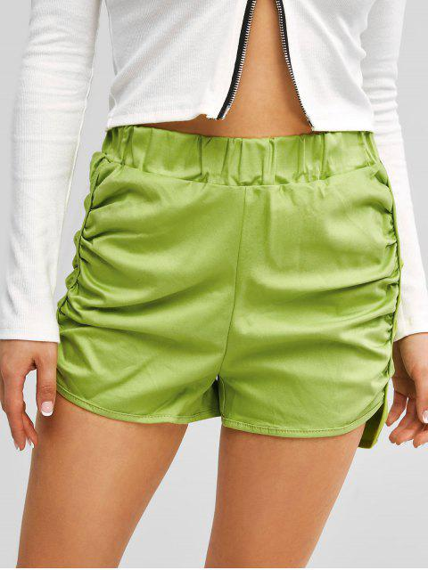 lady Ruched Dolphin Hem Casual Shorts - GREEN ONE SIZE Mobile