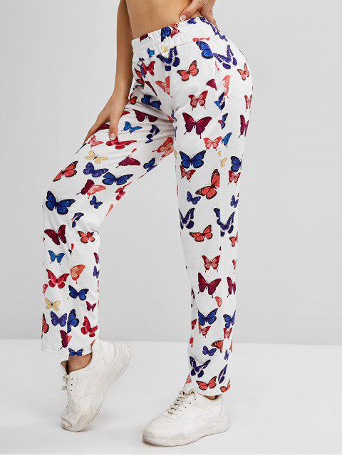 outfit High Waisted Butterfly Print Pocket Pants - WHITE L Mobile