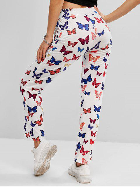 chic High Waisted Butterfly Print Pocket Pants - WHITE M Mobile