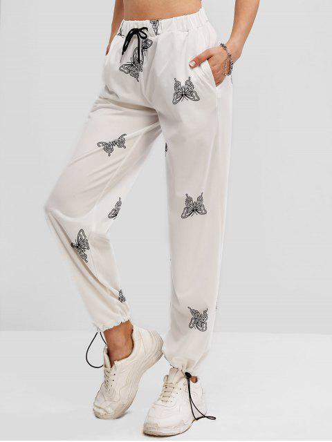 women High Waisted Butterfly Print Drawstring Pants - WHITE S Mobile