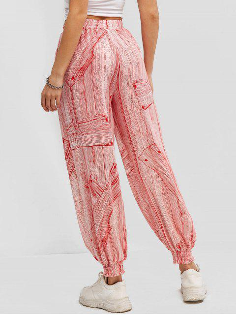chic Printed High Waisted Smocked Hem Jogger Pants - RED M Mobile
