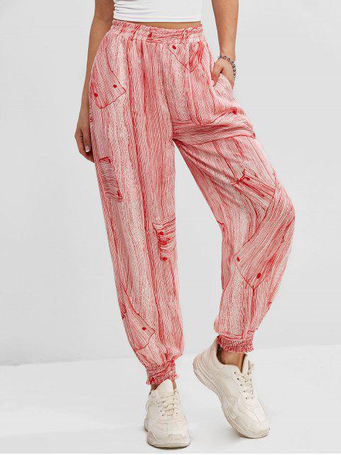ladies Printed High Waisted Smocked Hem Jogger Pants - RED XL Mobile