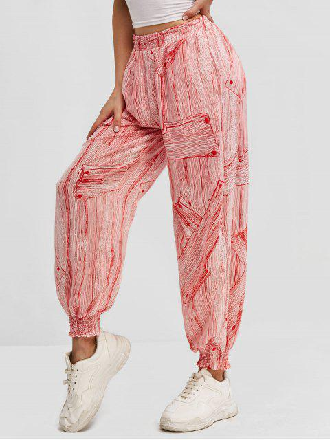 online Printed High Waisted Smocked Hem Jogger Pants - RED L Mobile