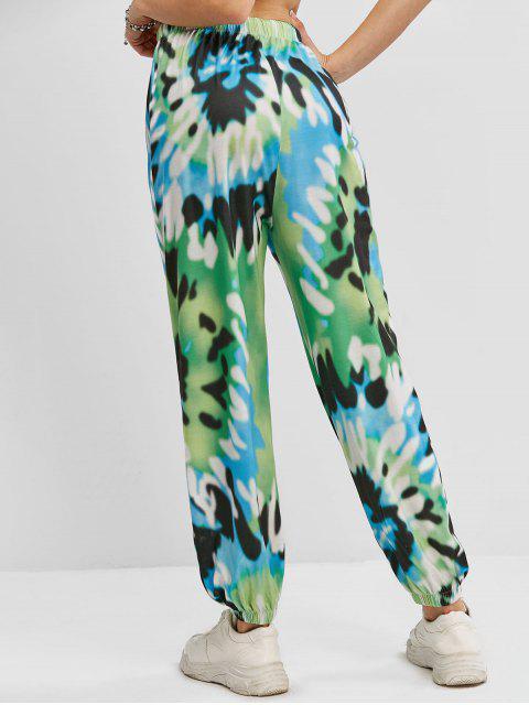 best ZAFUL Tie Dye Drawstring Waist Jogger Pants - DEEP GREEN L Mobile