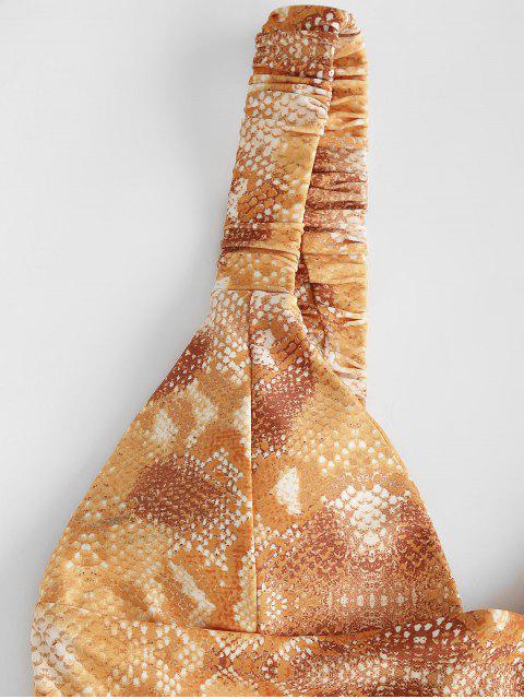 hot ZAFUL Snake Print Elasticated Straps Bikini Swimwear - COFFEE S Mobile