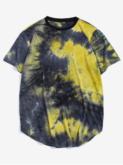 fancy Tie Dye Crew Neck Longline Curved T Shirt - YELLOW S Mobile