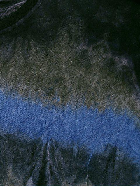 trendy Tie Dye Crew Neck Longline Curved T Shirt - BLUE 2XL Mobile