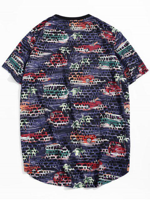 shops Car Palm Tree Print Sheer Patch Hole Crew Neck T Shirt - CADETBLUE 2XL Mobile
