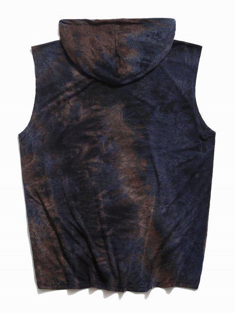 Tie Dye Casual Hooded Tank Top - طالبا الأزرق 2XL Mobile