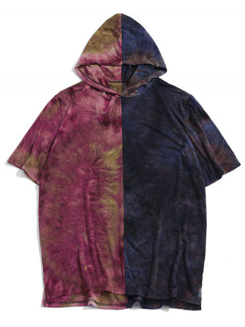 Color Block Tie Dye Hooded Casual T Shirt - أرجواني 2XL Mobile