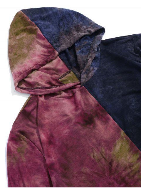 ladies Color Block Tie Dye Hooded Casual T Shirt - PURPLE 2XL Mobile