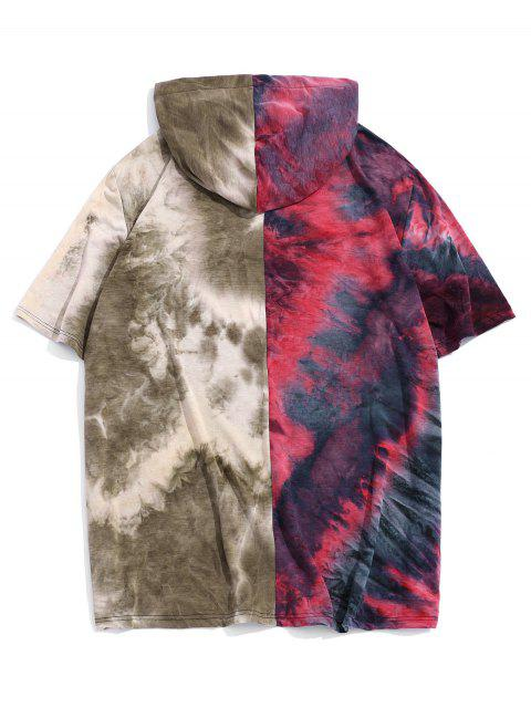 Color Block Tie Dye Hooded Casual T Shirt - أحمر 2XL Mobile