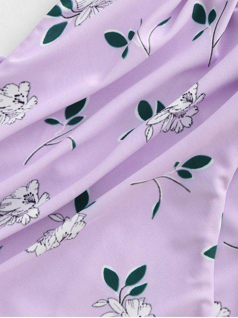 ZAFUL Maillot de Bain Tankini Bandeau Fleuri à Taille Haute à Lacets - Violet clair 2XL Mobile