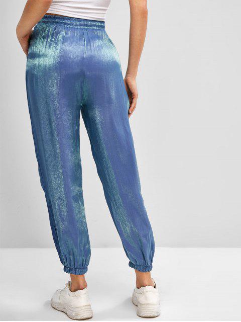 ladies Drawstring Reflective Glitter Jogger Pants - BLUE M Mobile
